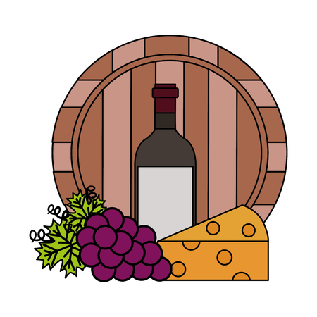 wine bottle barrel cheese and fresh grapes vector illustration Illusztráció