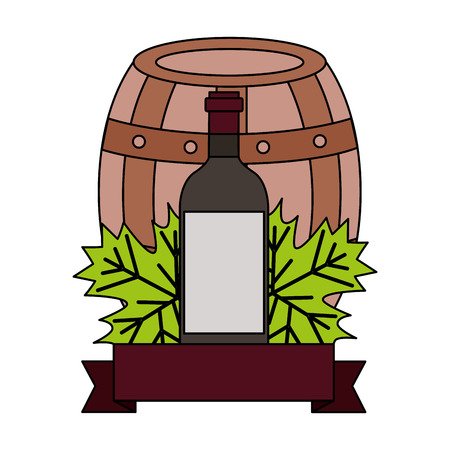 wine bottle wooden barrel leaves ribbon vector illustration