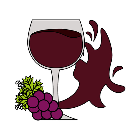 wine cup bunch fresh grapes splash on white background vector illustration
