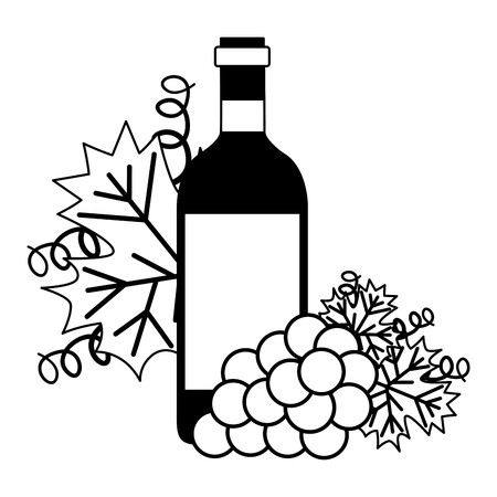 wine bottle bunch fresh grapes vector illustration Ilustração