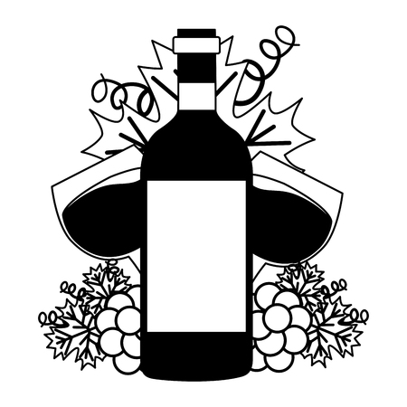 wine bottle cups and bunch grapes vector illustration Illustration