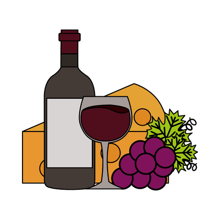 wine bottle cup fresh grapes and cheese vector illustration
