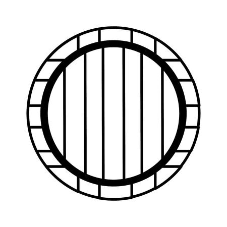 wooden wine barrel on white background vector illustration