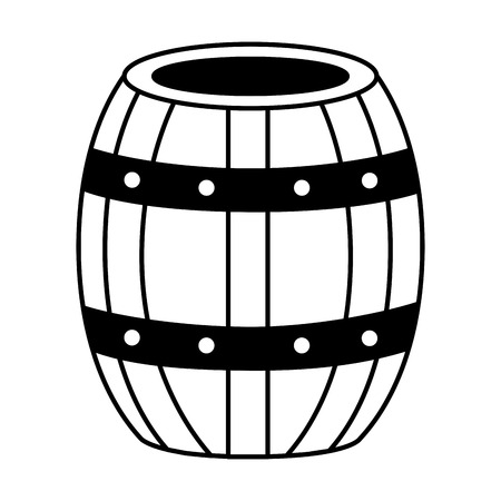 wooden wine barrel on white background vector illustration