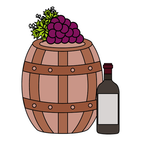 wine bottle wooden barrel grapes vector illustration Banque d'images - 115688825