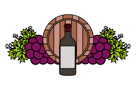 Ilustración de vector de uvas de barril de madera de botella de vino Ilustración de vector