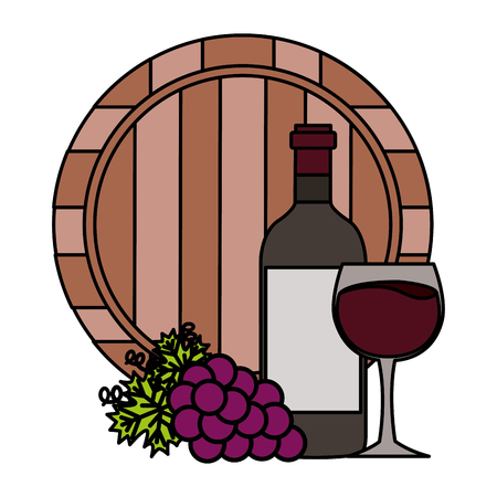 wine bottle cup barrel and grapes vector illustration