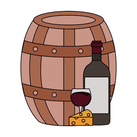 wine bottle cheese barrel and cup vector illustration Stock Illustratie