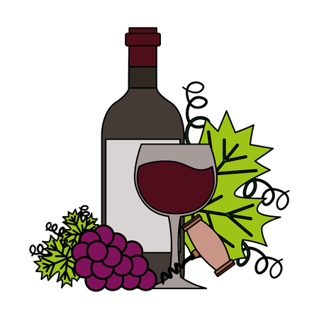 wine bottle cup corkscrew bunch fresh grapes vector illustration