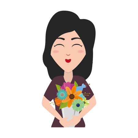 happy woman with bouquet flowers vector illustration