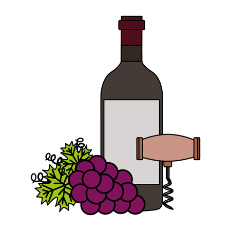 wine bottle corkscrew grapes on white background vector illustration
