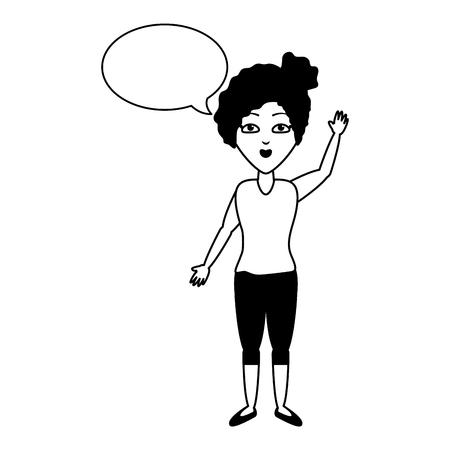 woman waving hand speech bubble vector illustration Illustration