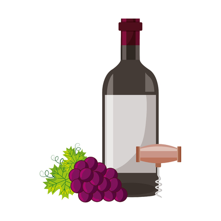 wine bottle corkscrew and grapes vector illustration Illustration