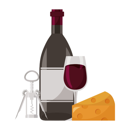 wine bottle cup cheese and corkscrew vector illustration Stock Vector - 115688871