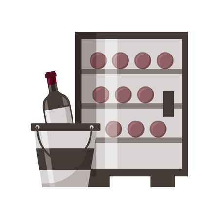 Refrigerador botellas de vino cubo de hielo ilustración vectorial