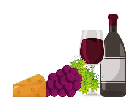 botella de vino, copa, uvas, y, queso, vector, ilustración