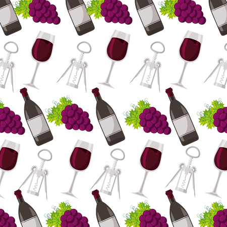 background wine bottle cup corkscrew and grapes vector illustration Banco de Imagens - 125979137