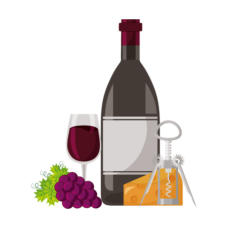 wine bottle cup grapes cheese and corkscrew vector illustration Stock fotó - 115688876