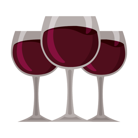 wine glass cups on white background vector illustration