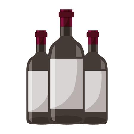 three wine bottles on white background vector illustration Foto de archivo - 115689034