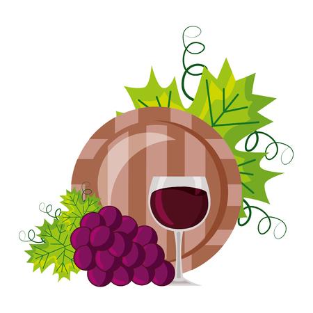 wine cup barrel and grapes on white background vector illustration Ilustração
