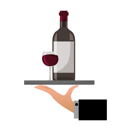 hand with tray with bottle cup wine vector illustration Foto de archivo - 115655671