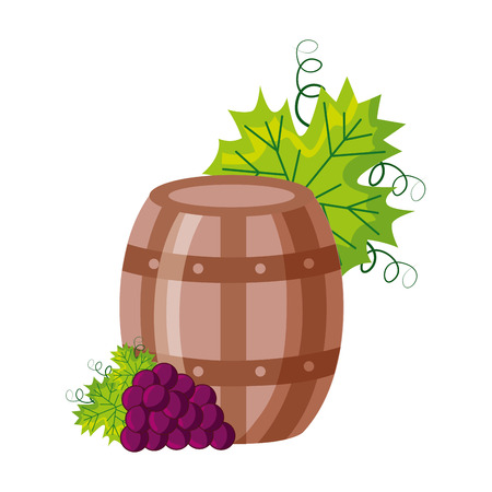 wine barrel and grapes on white background vector illustration