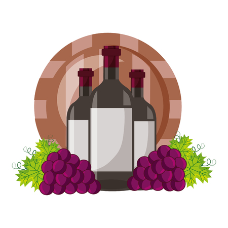 wine bottles and barrel grapes on white background vector illustration