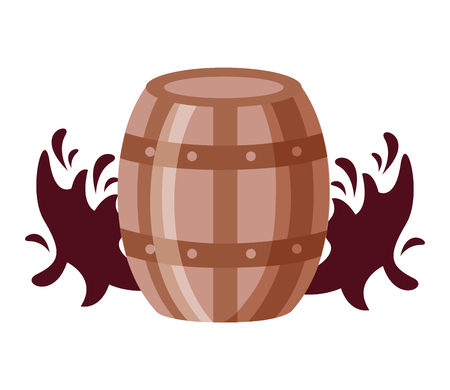 wooden wine barrel splashes on white background vector illustration