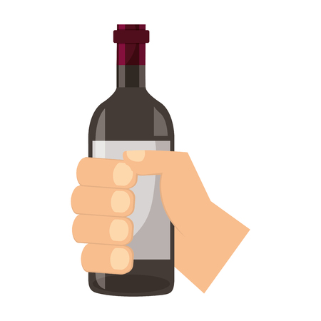 hand holding wine bottle on white background vector illustration  イラスト・ベクター素材