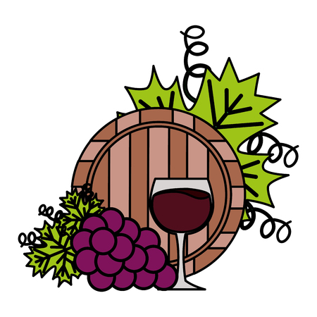 wine cup barrel and grapes on white background vector illustration  イラスト・ベクター素材