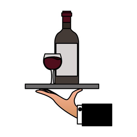hand with tray with bottle cup wine vector illustration Foto de archivo - 125979152
