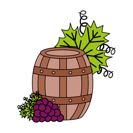 wine barrel and grapes on white background vector illustration Banque d'images - 115689049
