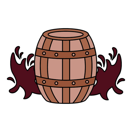 wooden wine barrel splashes on white background vector illustration