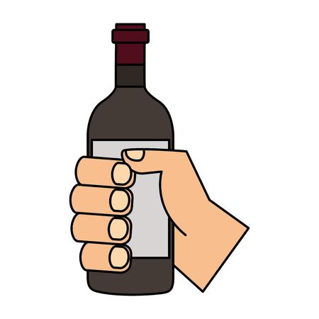 hand holding wine bottle on white background vector illustration Illustration