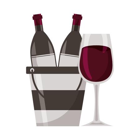 wine bottles cup ice bucket vector illustration Banco de Imagens - 115689054