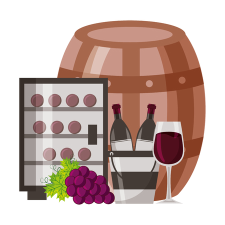 wine bottles ice bucket refrigerator cup and grapes vector illustration Ilustrace