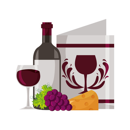 wine bottle restaurant menu cheese grapes cup vector illustration  イラスト・ベクター素材