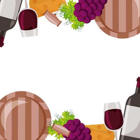 wine bottle cup grapes cheese barrel corkscrew frame vector illustration