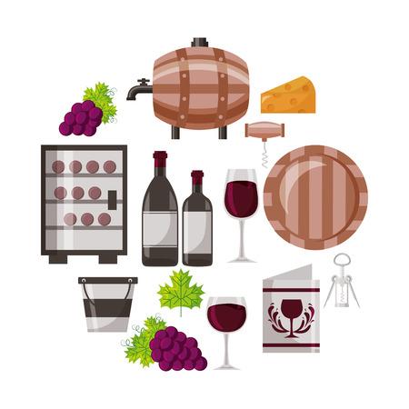 wine bottle cup barrel cooler bucket collection vector illustration