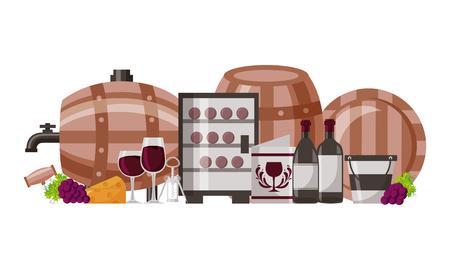 collection wine barrel bottle cups menu vector illustration