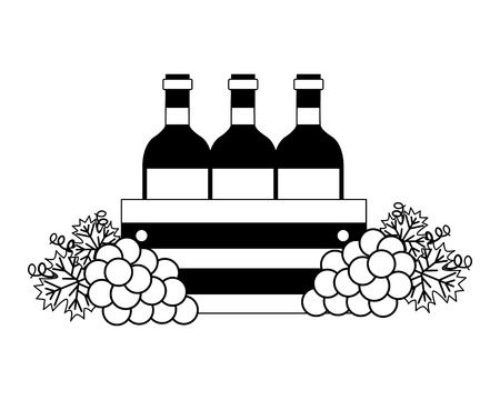 wine bottles on basket and grapes vector illustration 스톡 콘텐츠 - 115689301