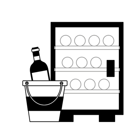 refrigerator wine bottles ice bucket vector illustration