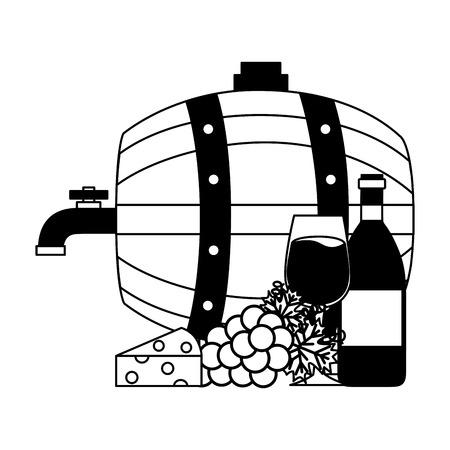 Barril de madera de vino y botella taza uvas ilustración vectorial