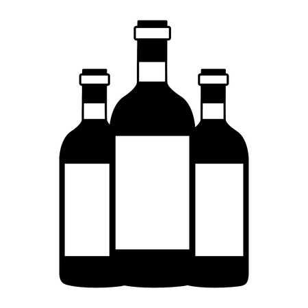 three wine bottles on white background vector illustration Illustration