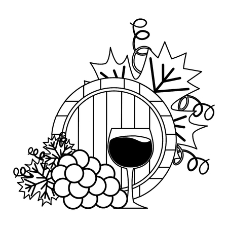 wine cup barrel and grapes on white background vector illustration Illustration