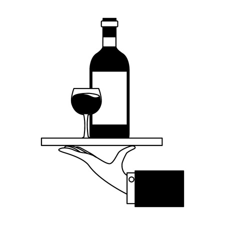 hand with tray with bottle cup wine vector illustration Foto de archivo - 125979158