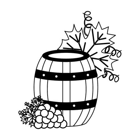 Barril de vino y uvas en la ilustración de vector de fondo blanco Ilustración de vector