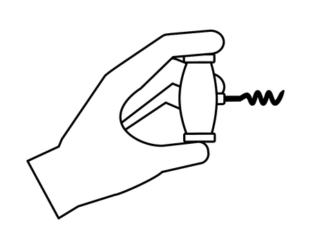 hand holding corkscrew utensil on white background vector illustration Illusztráció