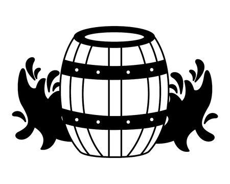 wooden wine barrel splashes on white background vector illustration 免版税图像 - 115689323